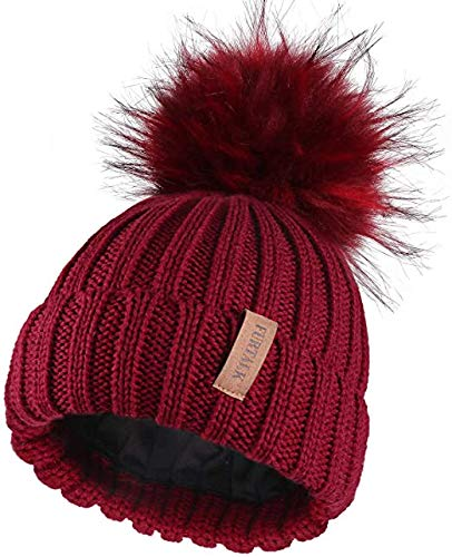 Golden Apple Kids Girls Winter Warm Knit Beanie Hat Cap and Scarf Set for 2-6 Years